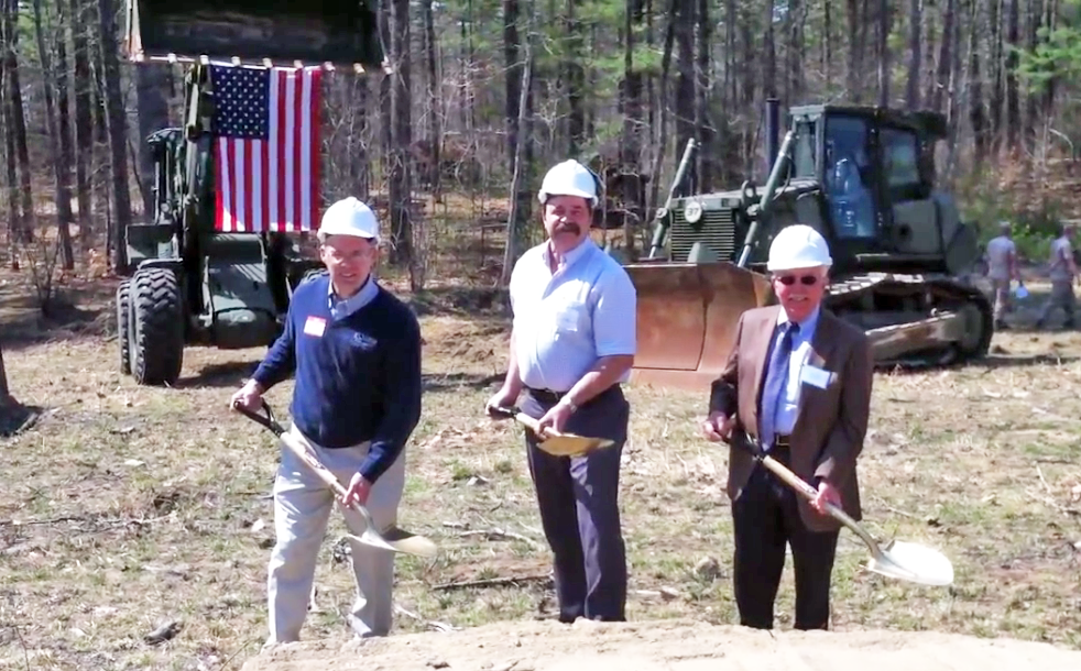 Alan Gould of A.H. Harris, left, thrives on partnerships. Here, joined by Jeffrey Spiller of Casco Bay Steel Structures, center and Peter Brissette, GM/Brand President of American Steel & Aluminum break ground on the dining hall at the Boy Scouts' Camp William Hinds in Raymond, Maine. All parties involved, including A.H. Harris and Nox-Crete, donated material for the hall's construction.